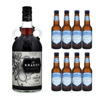 Kraken Black Spiced 70cl mit 8x Fentimans & Hollows Ginger Beer
