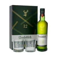 Glenfiddich 12 ans d'âge 70cl avec 2 Verres Tumbler
