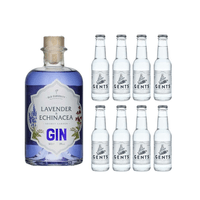 Secret Garden Gin Lavendel & Echniacea 50cl mit 8x Gents Tonic Water