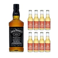 Jack Daniel's Old No.7 Tennessee Whiskey 70cl mit 8x Gents Ginger Ale