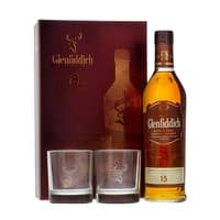 Glenfiddich 15 Years Single Malt Whisky Set mit 2 Gläsern 70cl