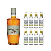 Saffron Gin Boudier 70cl avec 8x Swiss Mountain Spring Classic Tonic Water