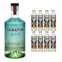 Sabatini London Dry Gin 70cl avec 8x 1724 Tonic Water