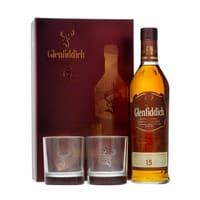 Glenfiddich 15 Years Single Malt Whisky Set mit 2 Gläsern 70cl