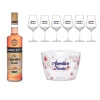 Ramazzotti Aperitivo Rosato Set mit 6 Cocktailgläsern und Eiskübel