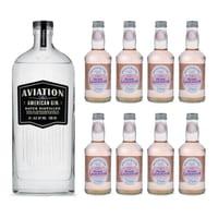 Aviation Gin American Dry Gin 70cl avec 8x Fentiman's Rose Lemonade