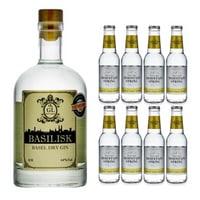 Basilisk Basel Dry Gin 50cl avec 8x Swiss Mountain Spring Classic Tonic Water