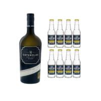 Cotswolds London Dry Gin 70cl avec 8x Erasmus Bond Classic Tonic Water