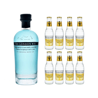 The London Gin No.1 Blue Gin 70cl avec 8x Fever Tree Premium Indian Tonic Water