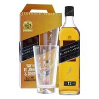 Johnnie Walker Black Label Whisky 70cl Set mit Highball Glas