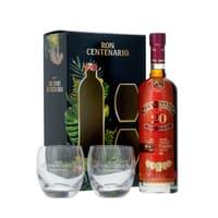 Centenario 20 Años Rum 70cl, Set avec 2 verres Tumbler