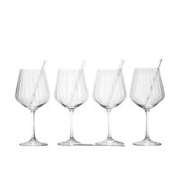 Nachtmann Gin Tonic Set vierteilig mit 4 Glastrinkhalme und Reinigungsbürste