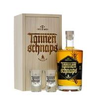 Tannenschnaps 50cl dans Coffret en bois avec deux verres à shot