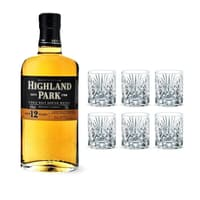 Highland Park 12 Years 70cl mit 6 Nachtmann Whiskygläser