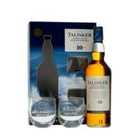 Talisker 10 Years Single Malt Whisky 70cl mit 2 Rocking Gläsern