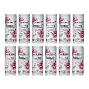 Smirnoff Seltzer Raspberry & Rhubarb 25cl, Pack de 12