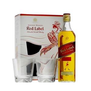 Johnnie Walker Red Label Blended Whisky 70cl Set avec 2 Verres