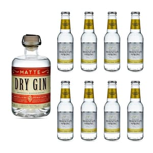 Matte Dry Gin 50cl mit 8x Swiss Mountain Spring Classic Tonic Water