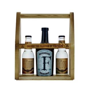 Ferdinand's Saar Dry Gin 50cl avec 2 Polidori's Dry Tonic dans un Coffret en Bois