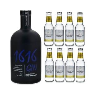 Langatun 1616 Gin 70cl mit 8x Swiss Mountain Spring Classic Tonic Water