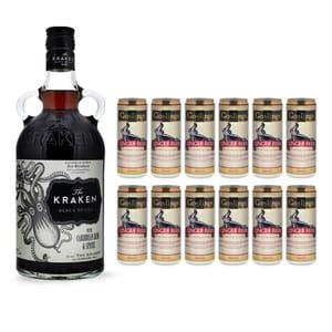 Kraken Black Spiced 70cl mit 12x Gosling's Ginger Beer