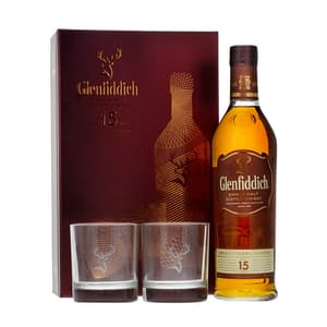Glenfiddich 15 Years Single Malt Whisky Ensemble avec 2 Verres 70cl