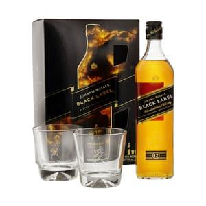 Johnnie Walker Black Label Whisky 70cl Ensemble avec 2 Verres Tumbler