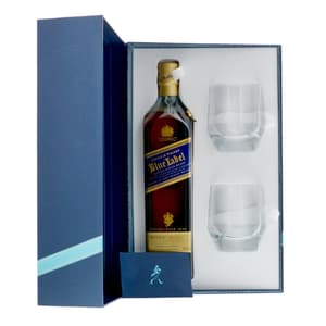 Johnnie Walker Blue Label Whisky 70cl Ensemble avec 2 Verres Tumbler
