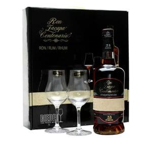 Rum Zacapa Centenario 23 Anos Etiqueta Negra dans un coffret avec 2 verres Riedel originaux