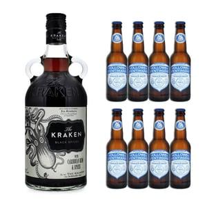 Kraken Black Spiced 70cl mit 8x Fentimans & Hollows Ginger Beer