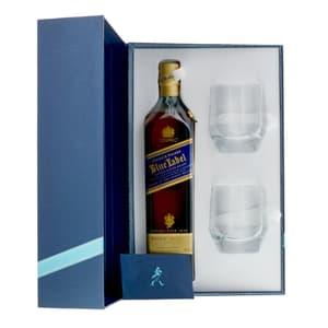 Johnnie Walker Blue Label Whisky 70cl Ensemble avec 2 Verres Tumbler