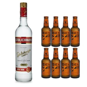 Stolichnaya Vodka 70cl mit 8x Aqua Monaco Hot Ginger