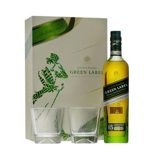 Johnnie Walker Green Label Blended Whisky 70cl Set avec 2 Verres