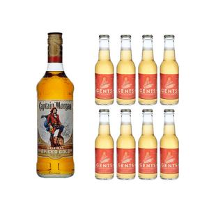 Captain Morgan Spiced Gold 70cl avec 8x Gents Ginger Ale