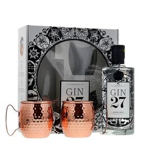 Gin 27 Ensemble avec deux Tasses en Cuivre