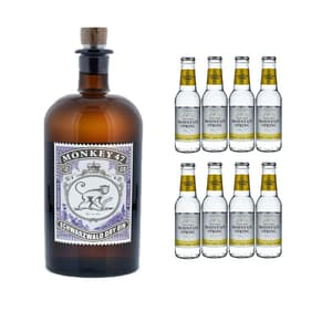 Monkey 47 Schwarzwald Dry Gin 50cl mit 8x Swiss Mountain Spring Classic Tonic Water
