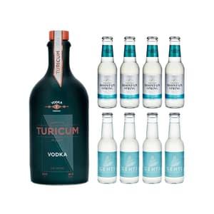 Turicum Vodka 50cl avec 4x Swiss Mountain Spring Bitter Lemon et 4x Gents Bitter Lemon