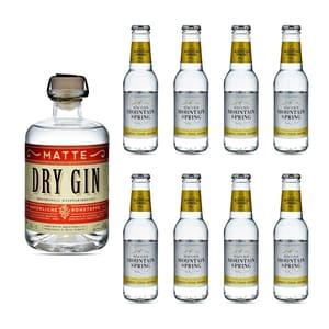 Matte Dry Gin 50cl avec 8x Swiss Mountain Spring Classic Tonic Water