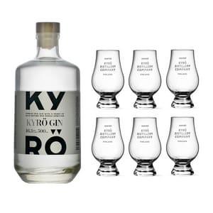 Kyrö Gin 50cl avec six verres de dégustation originaux