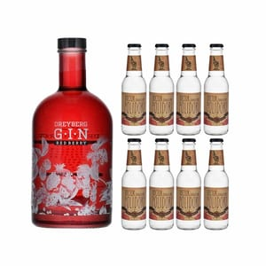 Dreyberg Red Berry Gin 70cl mit 8x Doctor Polidori's Dry Tonic Water