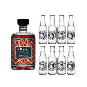 Koval Cranberry Gin Likör 50cl mit 8x Thomas Henry Slim Tonic Water