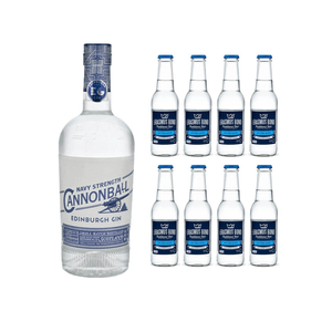 Edinburgh Cannonball Navy Strength Gin 70cl avec 8x Erasmus Bond Dry Tonic Water