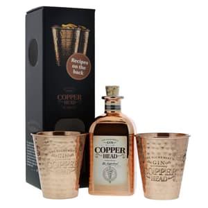 Copperhead The Alchemist's Dry Gin 50cl avec 2 Tasses en Cuivre