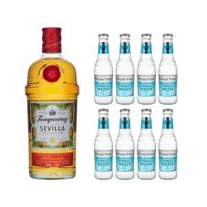 Tanqueray Flor de Sevilla Gin 70cl mit 8x Fever Tree Mediterranean Tonic Water