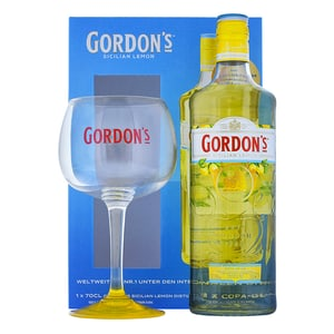 Gordon's Sicilian Lemon Gin 70cl Set mit Copa Glas
