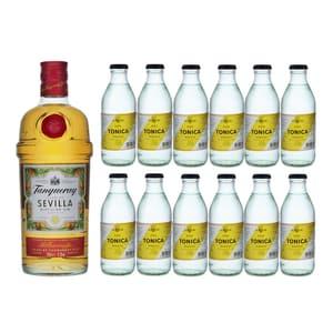 Tanqueray Flor de Sevilla Gin 70cl avec 12x Acqua Tonica Noe Mendrisio Tonic Water