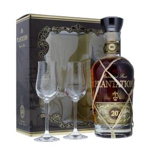 Rum Plantation Barbados XO Extra Old 20th Anniversary Set avec 2 verres