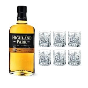 Highland Park 12 Years avec 6 Nachtmann Verres à Whisky