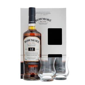 Bowmore 12 Years Whisky 70cl Ensemble avec 2 Verres