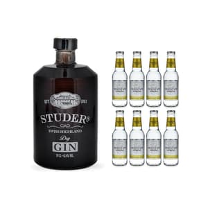 Studer's Swiss Highland Dry Gin 70cl avec 8x Swiss Mountain Spring Tonic Water Classic